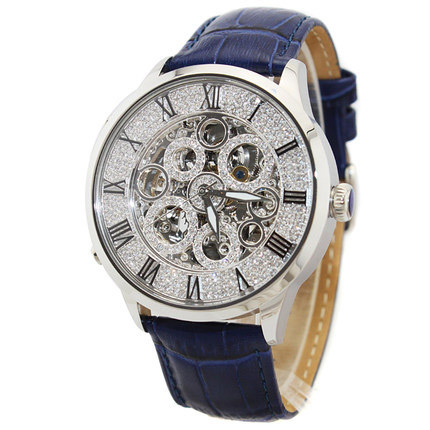 business genuines leather strap full diamond dial lady mechanical watch
