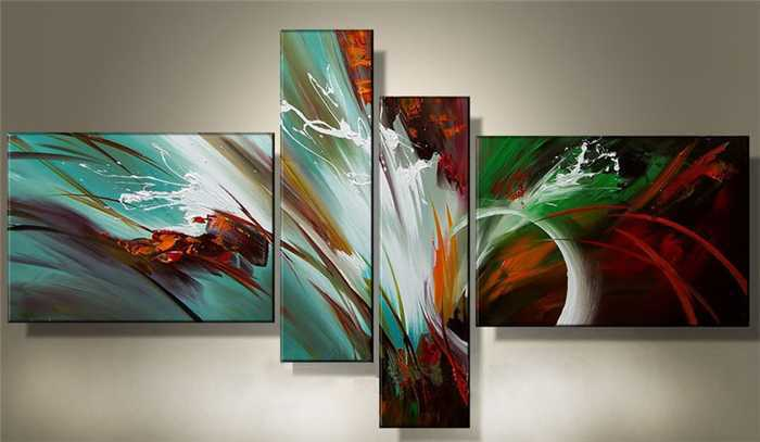 hand-painted Huge Wall Art Modern abstract oil painting canvas 4pcs/set - Fraz & YX Studio store