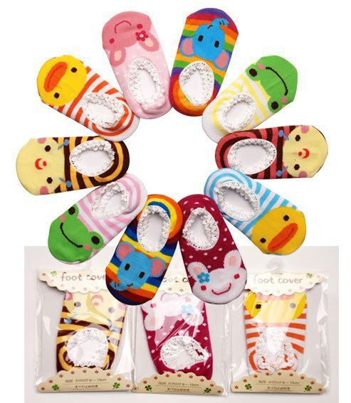 5pairs/lot retail Baby girls boy's socks Walking rubber slip-resistant Cartoon cotton Floor Socks Outdoor faux Shoes 0-2year(China (Mainland))