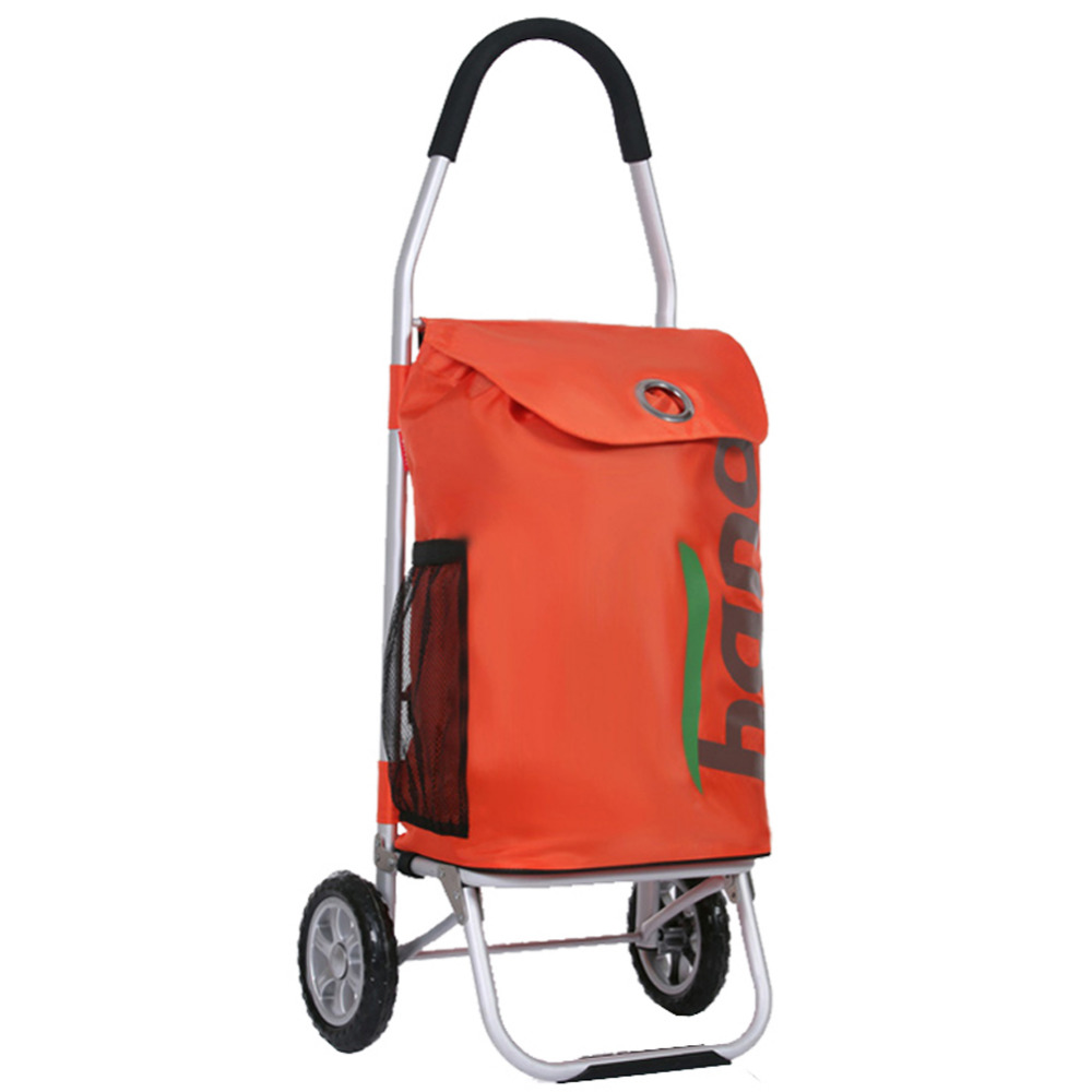 2016 High End New Style Shopping Trolley Cart Orange Folding Light-Weight Portable 100% Aluminum Holder 50L Super Large Volume(China (Mainland))