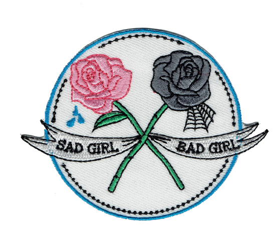 Rose Flower Sad Girl Bad Girl Embroidered Cartoon Patch