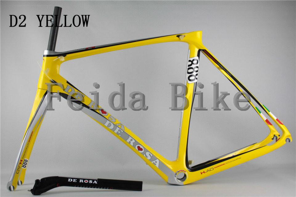 Carbon ROAD Bike frames COLOR D2yellow ,extinction,bright finish 2015 NEW de rosa 888 super king(China (Mainland))