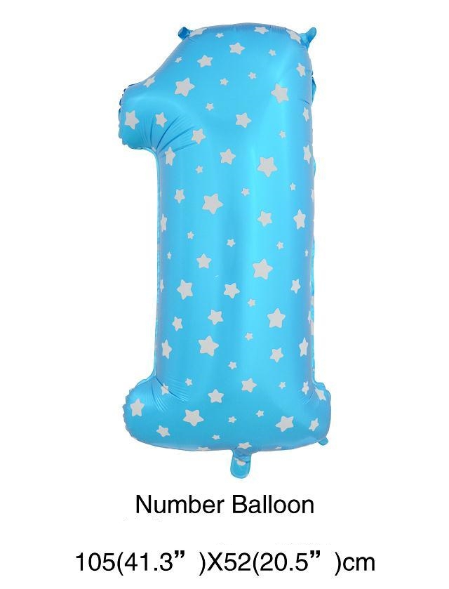 Free Shipping Classic Toys Inflatable Number 1 Helium Foil Balloons,Party Decoration Blue Number one Balloon,Birthday Party(China (Mainland))