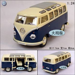 New Volkswagen American Classical Bus Large 1:24 Diecast Model Car Blue Toy collection B119b