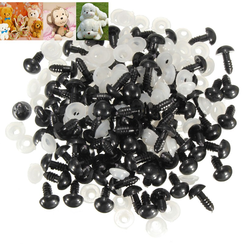 100Pcs/Bag DIY Doll Toy Eyes 12mm Black Plastic Safety Eyes Puppets Doll Crafts Doll Eyes Handmade Accessories with Washers(China (Mainland))
