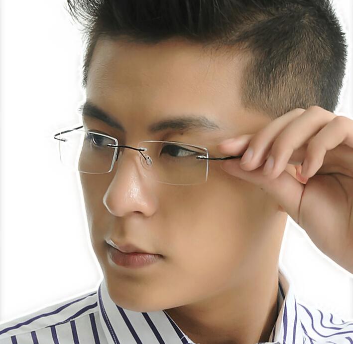 100% TITANIUM Eyeglass Frames Gun Gray Rimless Glasses Clear Lens Eyeglasses RX(China (Mainland))
