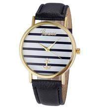 4Color Fashion Casual Women s Geneva Striped Anchor Analog Leather Quartz Wrist Watch Watches relogio feminino