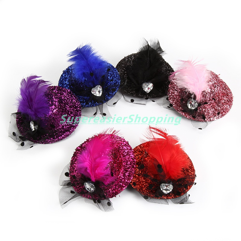 6pcs/lot Fashion Mini Hat Clip Paillette Bling Heart Shaped Crystal Feather Hair Clip Girls Fascinators Party Headwear Headdress(China (Mainland))