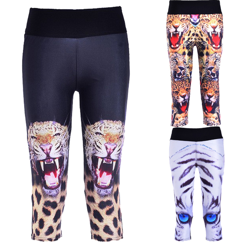 2015 New Fashion Capris Sports Leggings High Waist Animal Printed Leggings Lady's Fitness Workout Casual Pants Gym Wear 6Cols(China (Mainland))