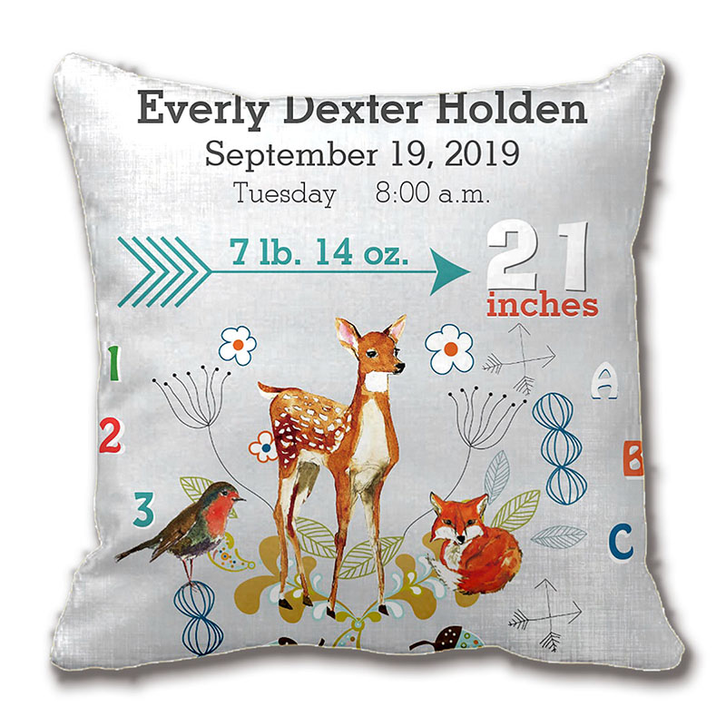 Nursery Baby Birth Stat Fox Arrow Pattern Throw Pillow Decorative Cushion Cover Pillow Case Customize Gift By Lvsure For Car(China (Mainland))