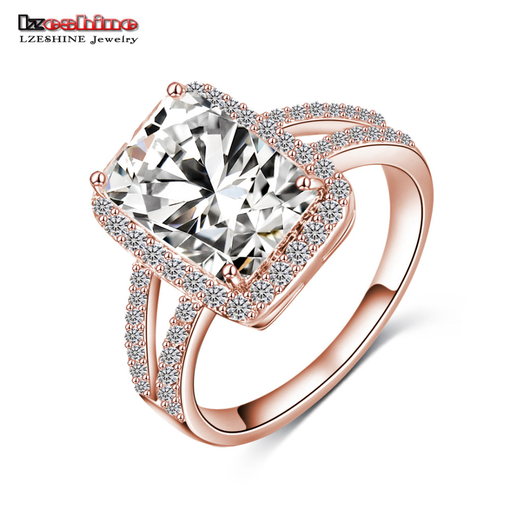 LZESHINE Brand Big Rectangle Cut Princess Ring Gold/ Silver Plated Clear AAA Cubic Zircon Ring Western Style aneis CRI0014(China (Mainland))