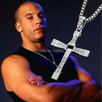 New Movie Jewelry  Rhinestone Pendant Sliver Cross Necklaces  2015 The Fast And The Furious Dominic Toretto Necklace