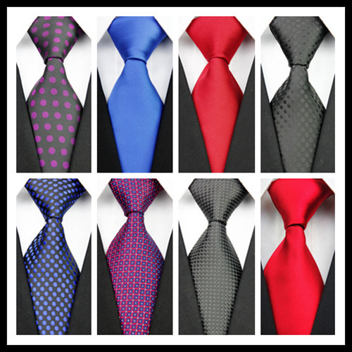 CON25 Man's Red Blue Black Purple Solid Dot New Silk Polyester Woven Tie Casual Business Wedding Party Tie Fashion Necktie(China (Mainland))