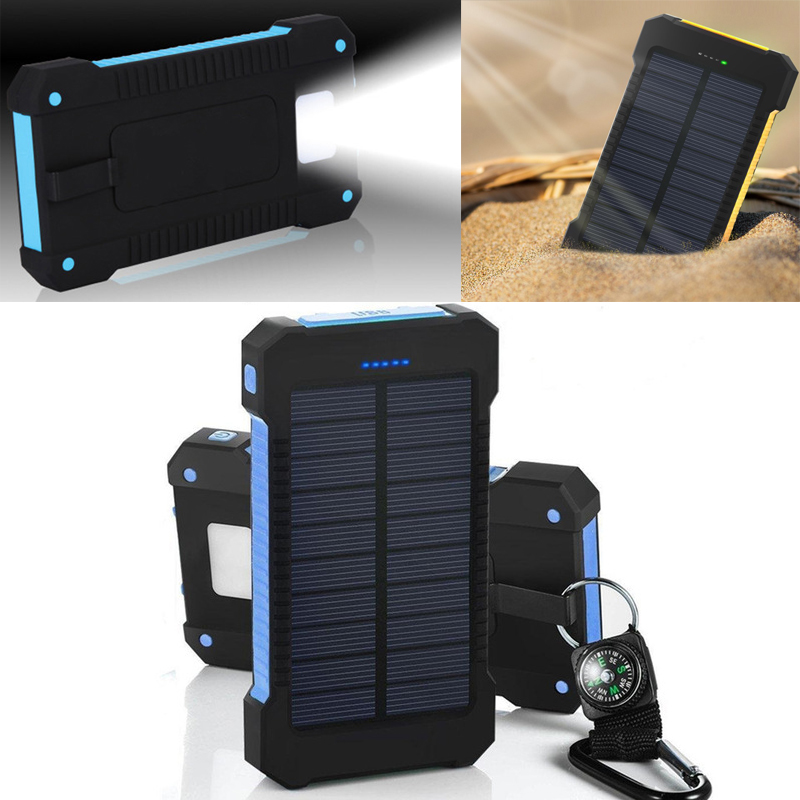 Portable Phone Charger Dual USB Power Bank External Battery Solar Power Bank for Mobile Phone With LED Light NBC154(China (Mainland))