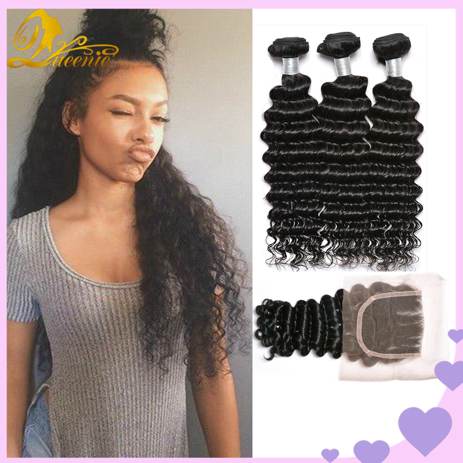Ms Lula Hair 4 Bundles With Closure Malaysian Deep Wave Bundles With Closure 8A Grade Virgin Unprocessed Human Hair With Closur <br><br>Aliexpress