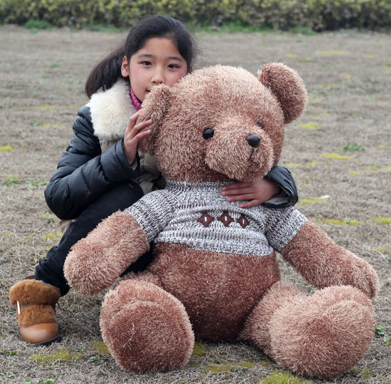 huge lovely plush teddy bear toy sweater teddy bear doll hugging bear toy gift about 130cm<br>