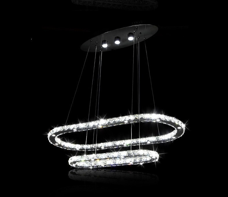 Modern LED crystal chandelier remote control bedroom restaurant crystal pendant double loop crystal chandelier(China (Mainland))
