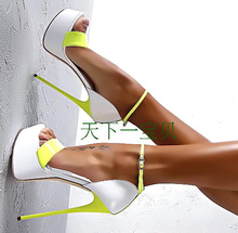 New Sexy Ultra High Mixed Colors Platform Shoes Women Sandals for Party Night Club Summer Open toe Sexy High Heels Plus Size 43(China (Mainland))