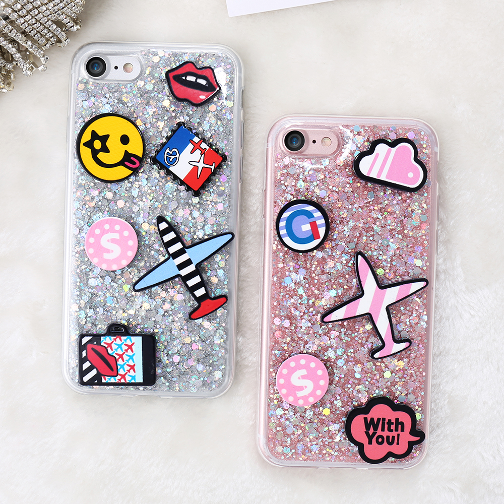 Bling Cartoon Airplane Lovers Phone Case For iPhone 7 7 Plus Cover Cute Glitter Paillette Cases For iPhone 7 Soft TPU Slim Shell(China (Mainland))