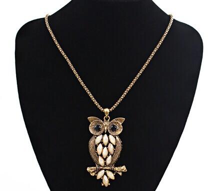 Opal cameo owl pendant long necklace women/kpop collares vintage womens jewellery/kolye/necklaces female/colar feminino/nacklace(China (Mainland))