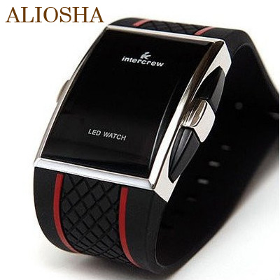 ALIOSHA 2015 Mens Best Digital Watch Electronic LED Watches Red Light Digital Black Strap Sports Watch For Men And Women(China (Mainland))