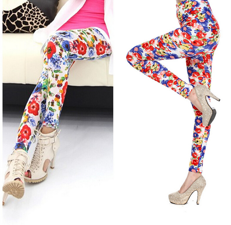 Hot fashion Korean women's leggings Pastoral Blue Rose leggings Printed cotton dhl 69lgg097(China (Mainland))