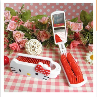 Travel folding comb Mirror comb composite antistatic massage comb lovely make-up comb(China (Mainland))