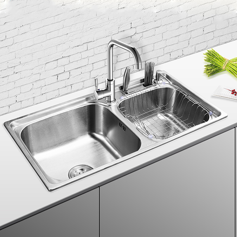 Free shippingi 304 stainless steel wire drawing kitchen sink double trough Integrated Kitchen Basin double groove sink(China (Mainland))