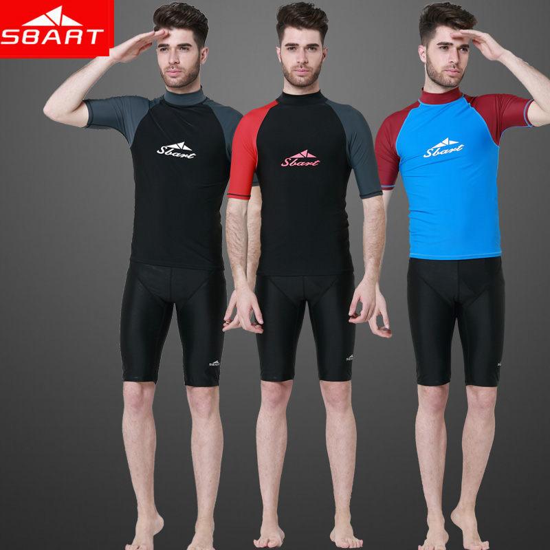 SBART 2015 Summer Men Short Sleeve Rash Guard Anti UV Quick Dry Blue Red UPF50+ Man Swimming Suit UPF Windsurf Diving T Shirt H(China (Mainland))