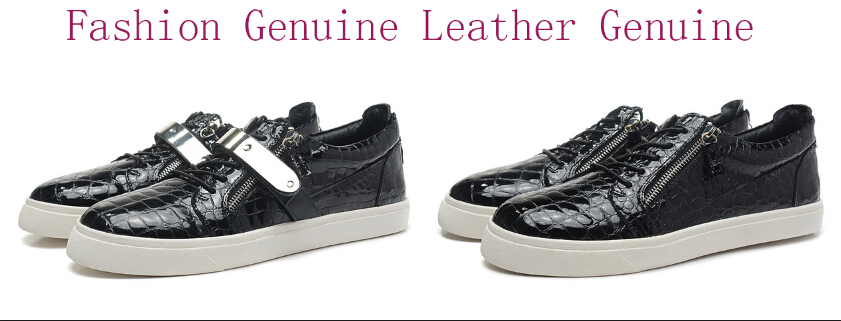 Drop Shipping 2015 Men Women Genuine Leather low Top Sneakers Unisex Gold Iron Zip Casual Shoes