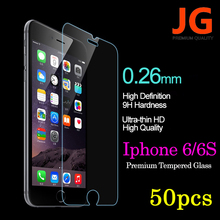 JG 50pcs/lot Tempered Glass for iPhone 6S 6 Front Hardness 2.5D Ultra HD Tempered Glass Clear Screen Protector Free Shipping