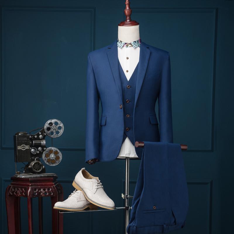 ( Jacket + Pants + Vest ) 2015 Brand Fashion Men Suits Blazer Slim Dark Blue Prom Groom Wedding Dress Singer Stage Clothing Îäåæäà è àêñåññóàðû<br><br>
