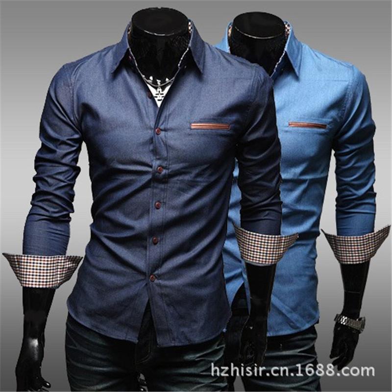 Washing denim shirt men new fashion cultivating long for Dress shirts for men sale