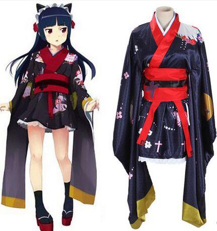 black kimono dress black kimono cosplay black kimono robe anime costumes for women anime cosplay