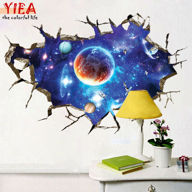 New 3D Outer Space Planet Wall Stickers for kids room Beautiful Galaxy Stickers muraux Decor Living Rooms vinilos paredes(China (Mainland))