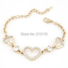 2014 New Fashion Heart Shaped Handmade Heart  Bracelet Jewelry For Women(China (Mainland))