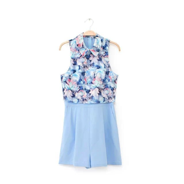 2015 summer blue flower Jacquard patchwork stitching sleeveless jumpsuit - Chic Classic Store store