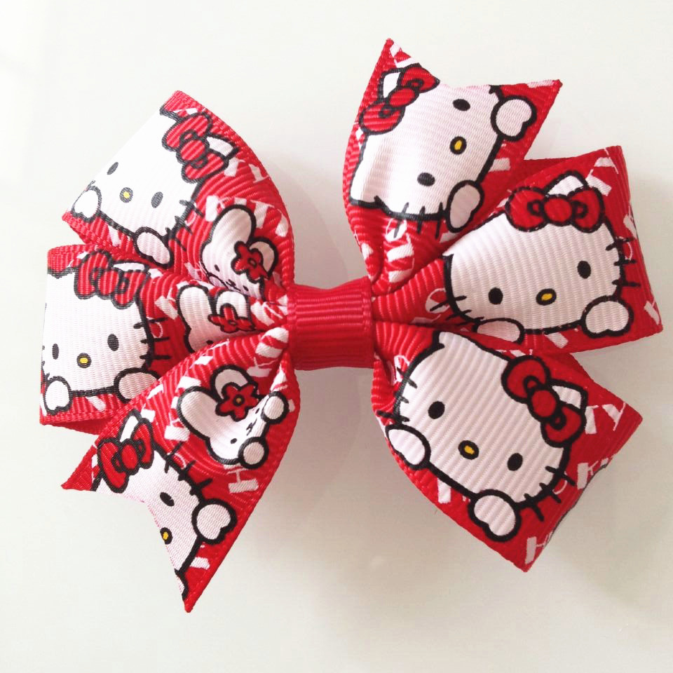 3'' Hot Sale Cartoon Hello Kitty Hair Clips Hair Accessories red KT Bow Clip Baby 9093(China (Mainland))