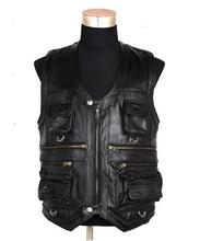 New Men's Waistcoat Genuine Leather Outdoor Reporters Suit More Than Pocket Quinquagenarian Men Cow Leather Vest Tops Hi-Q(China (Mainland))