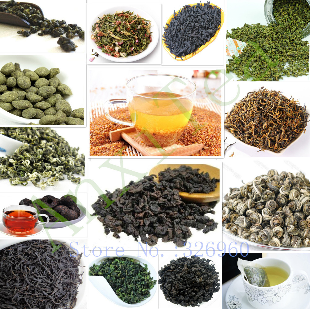 15 Different flavors tea Top-Grade Organic Chinese Black\Green\Puer\Oolong\Milk\Ginseng\Buckwheat\flower\Liver Tea+Secret Gift(China (Mainland))