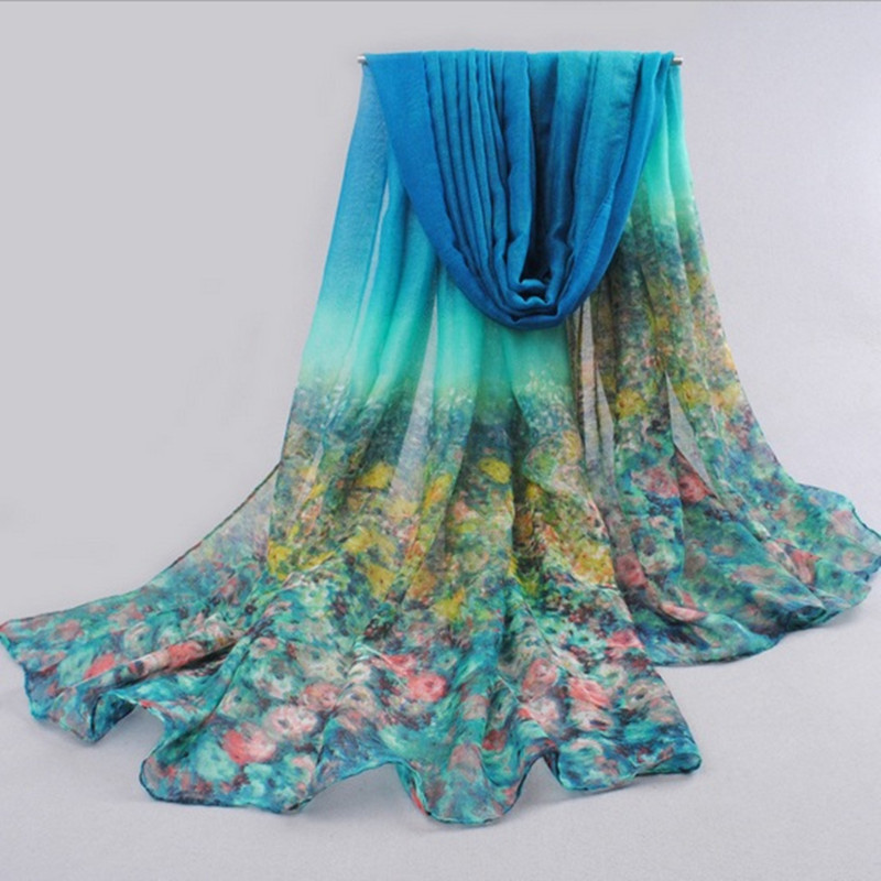 freehand sketching painting flora chiffon silk scarf plus size shawl cape women scarf cape 180*90cm(China (Mainland))