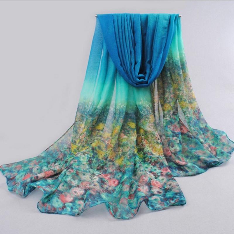 freehand sketching painting flora chiffon silk scarf plus size shawl cape women scarf cape 180*90cm(China (Mainland))