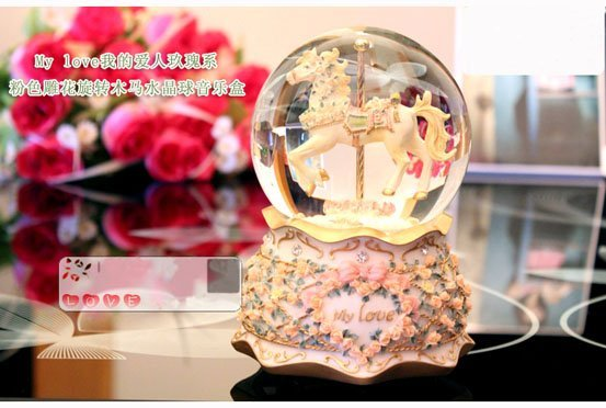 Newest 15cm Romantic Rose Carousel Music Box Snowflake Water Ball Musical Box Best Birthday Gift Toy