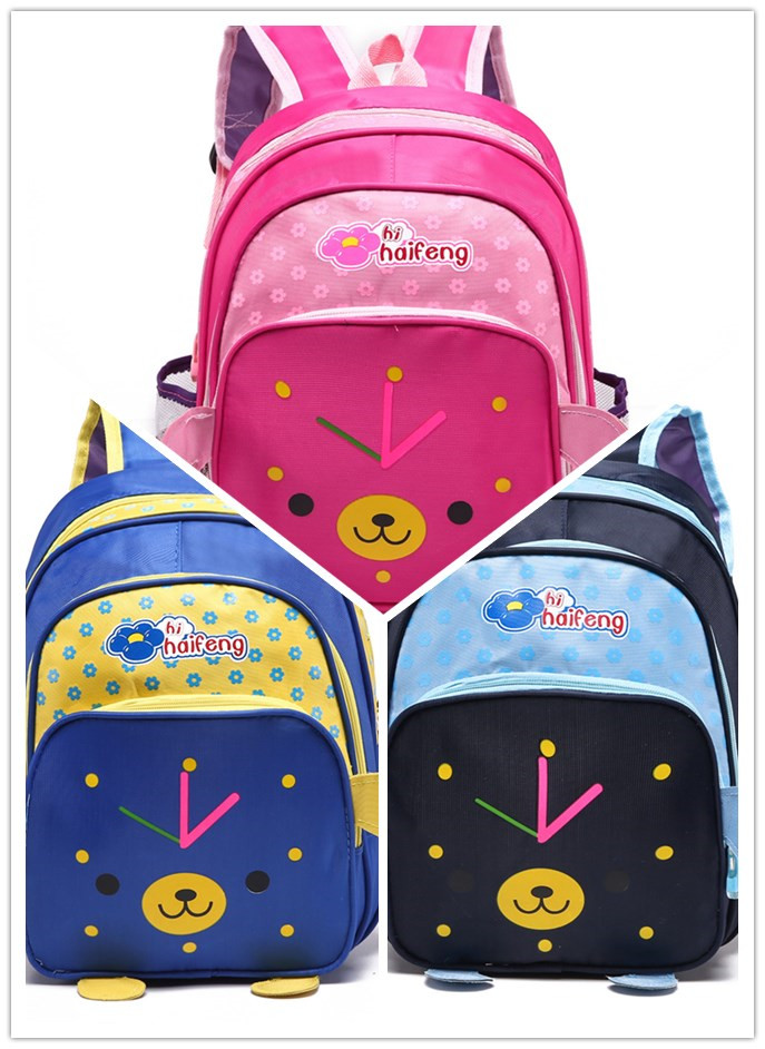 Kids Children Bag For Boys Girls Baby Backpack Schoolbags Lunch Box Backpack Clock Design<br><br>Aliexpress