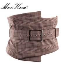Maikun женские ремни в стиле европейский полосатые широкие ремни для женщин нерегулярные плед пояса винтажная ткань с пряжкой булавки для эле...(China)