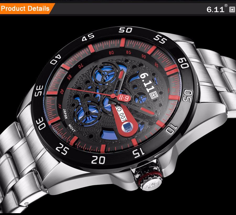6.11 мужская мода спорт кварцевые часы случайные бренд солнечных батареях скелет наручные часы стальной ленты 30 М Водонепроницаемый reloj hombre