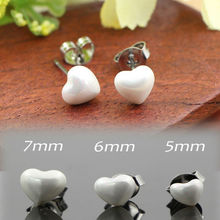Sale Fashion 5-7mm Natural White Sea Shell Love Heart Shape 316L Stainless Steel Jewelry Stud Earrings For Women Girl(China (Mainland))