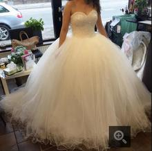Buy 2016 real picture white ball gown wedding dress gorgeous beading princess wedding dresses strapless floor length bridal gowns for $174.30 in AliExpress store