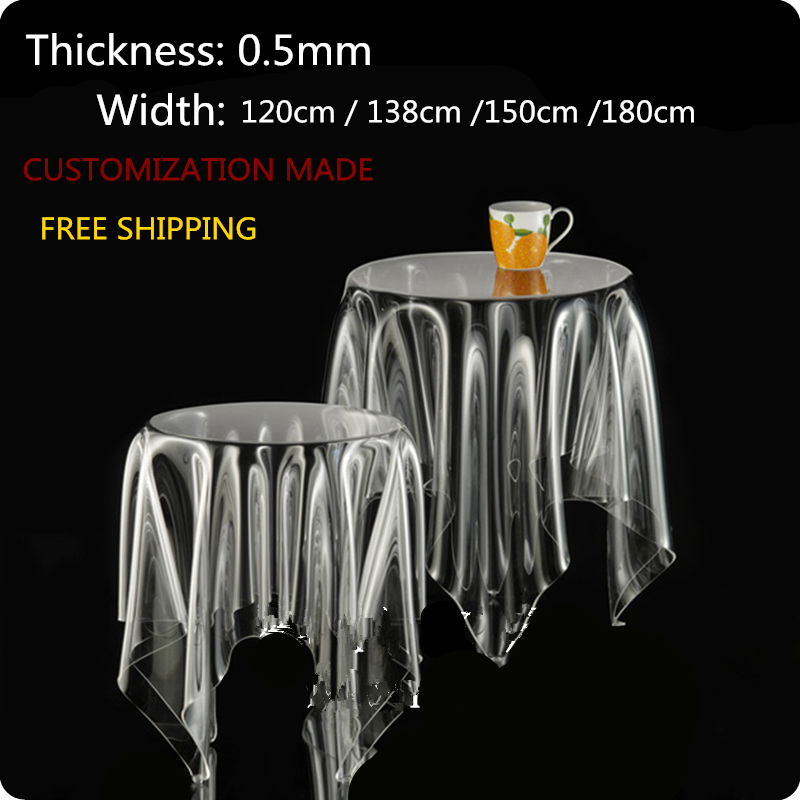 SM 0.5mm 120*60cm Customization made soft glass transparent clear waterproof PVC tablecloths covers free shipping()