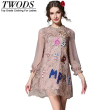 Twods S- 5XL 2016 New Brand Crystal Letter Embellished Short Dress Women Long Sleeve O-neck Embroidery Lace Mini Loose Dresses(China (Mainland))